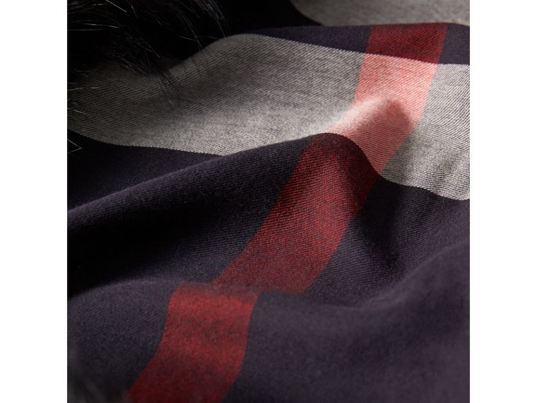 Raccoon Trim Check Wool Cashmere Scarf in Navy - Women | Burberry Canada - cell image 1