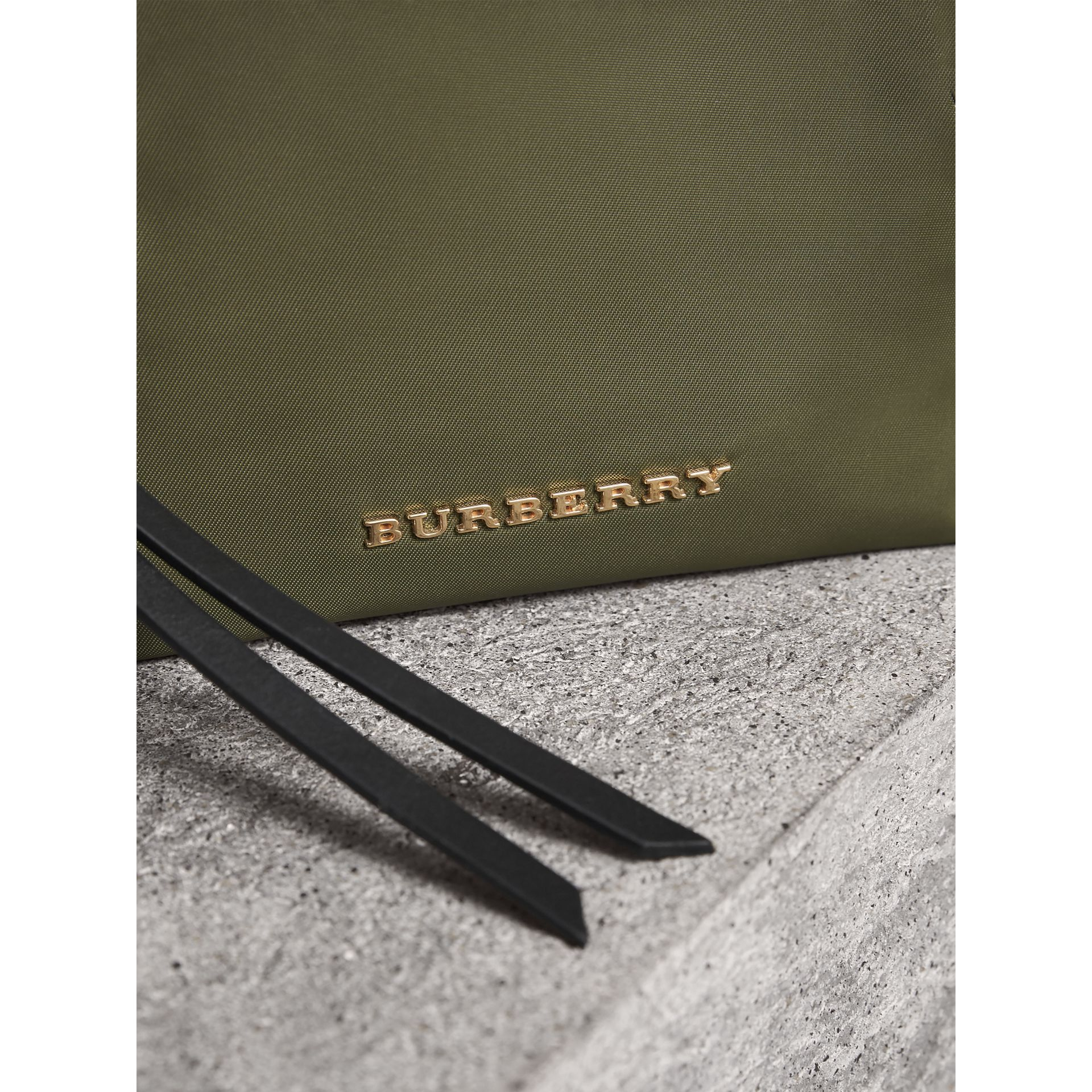 Small Zip-top Technical Nylon Pouch in Canvas Green - Women | Burberry - gallery image 1