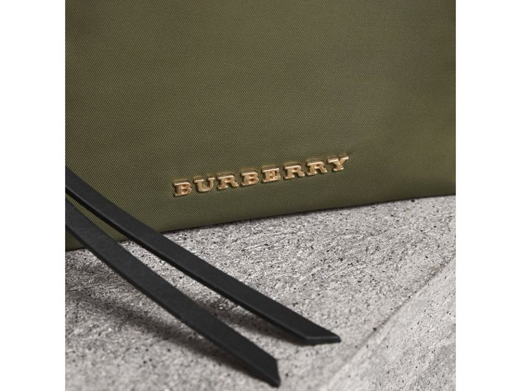 Small Zip-top Technical Nylon Pouch in Canvas Green - Women | Burberry - cell image 1