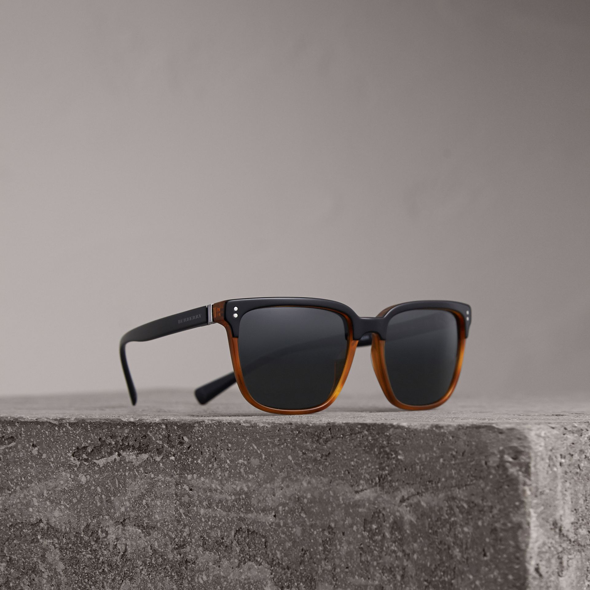 Square Frame Sunglasses in Light Brown - Men | Burberry Singapore - gallery image 0