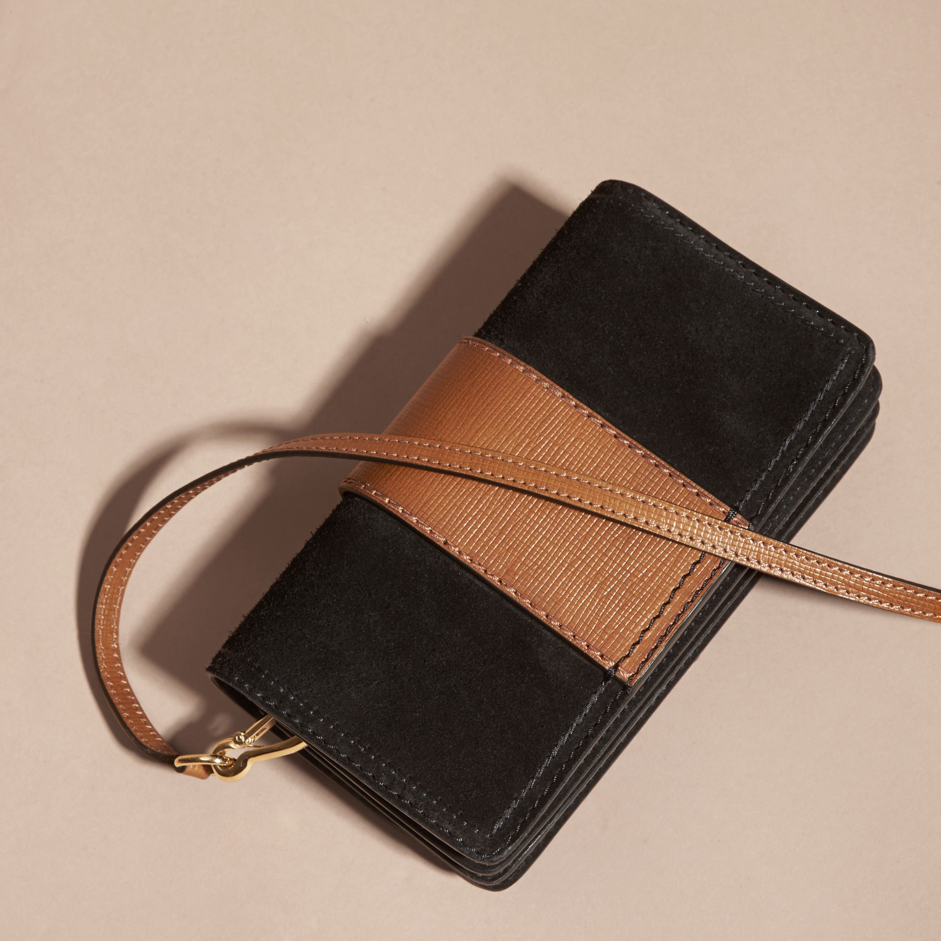 The Small Buckle Bag in Suede with Topstitching in Black / Tan - gallery image 5