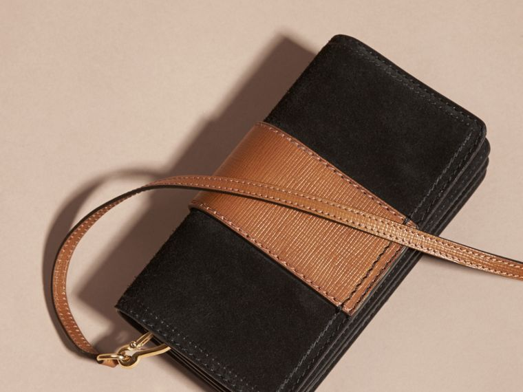 The Small Buckle Bag in Suede with Topstitching in Black / Tan - cell image 4