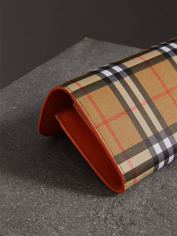 Vintage Check and Leather Continental Wallet in Clementine - Women | Burberry United States - cell image 2