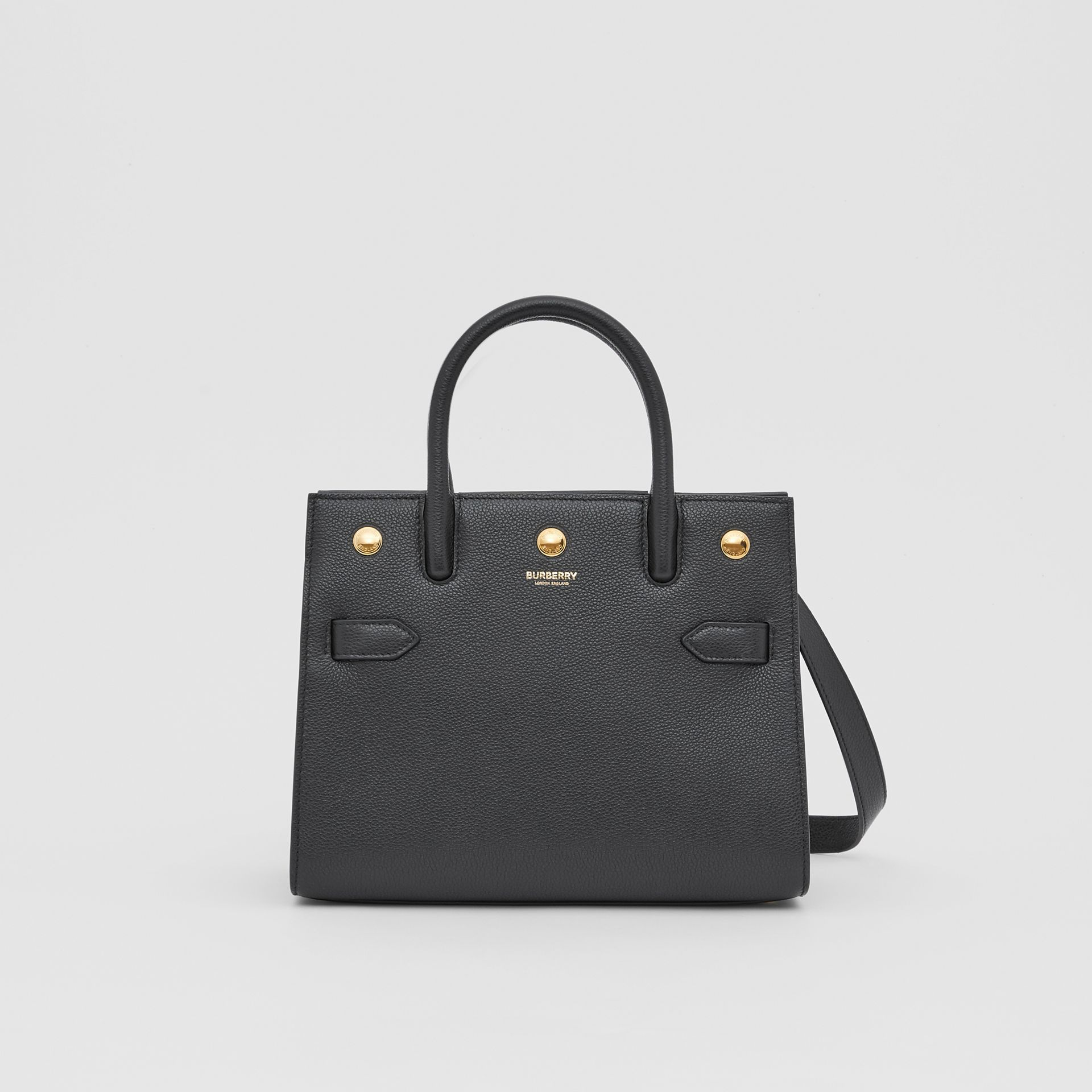 Mini Leather Two-handle Title Bag in Black - Women | Burberry - gallery image 0