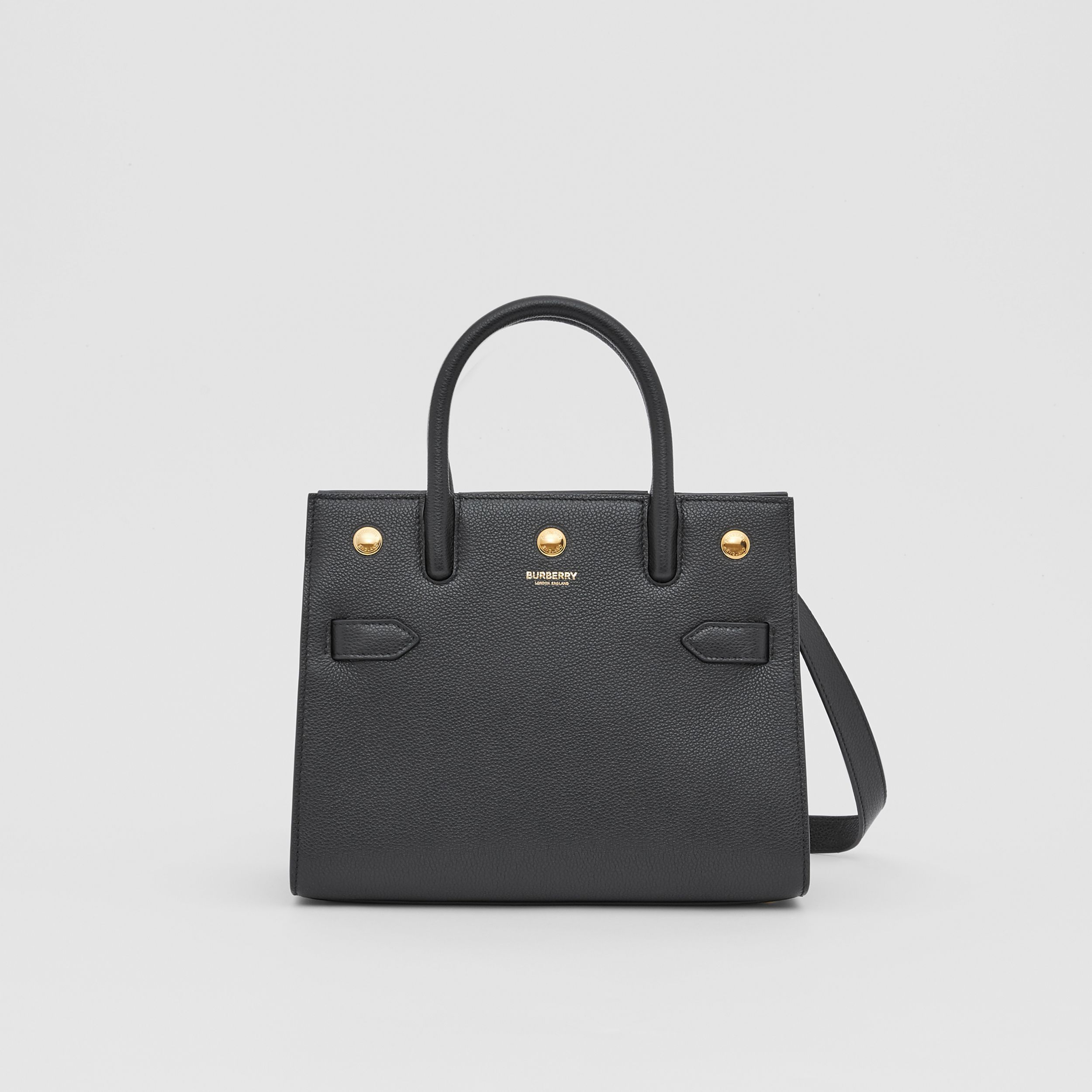 Mini Leather Two-handle Title Bag in Black - Women | Burberry - 1