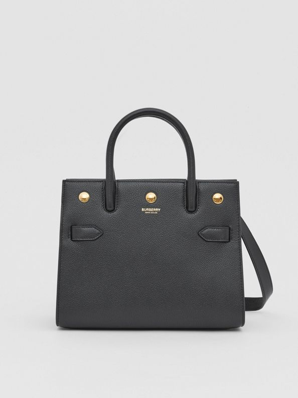 Mini Leather Two-handle Title Bag in Black