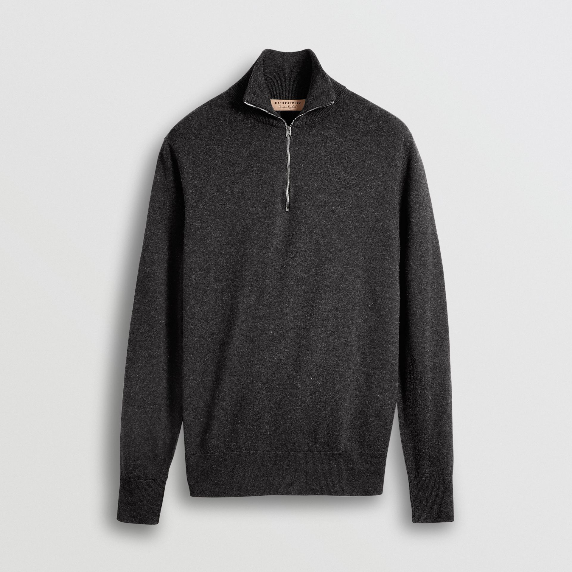 Zip-neck Cashmere Cotton Sweater in Charcoal - Men | Burberry United States - gallery image 3