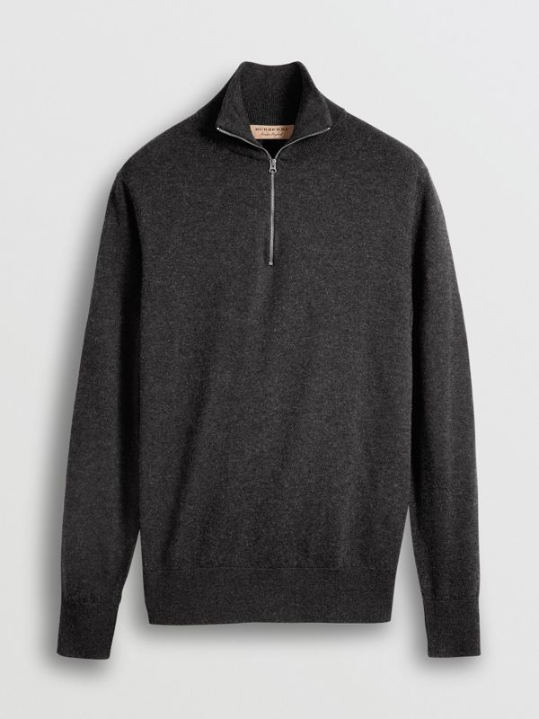 Zip-neck Cashmere Cotton Sweater in Charcoal - Men | Burberry - cell image 3