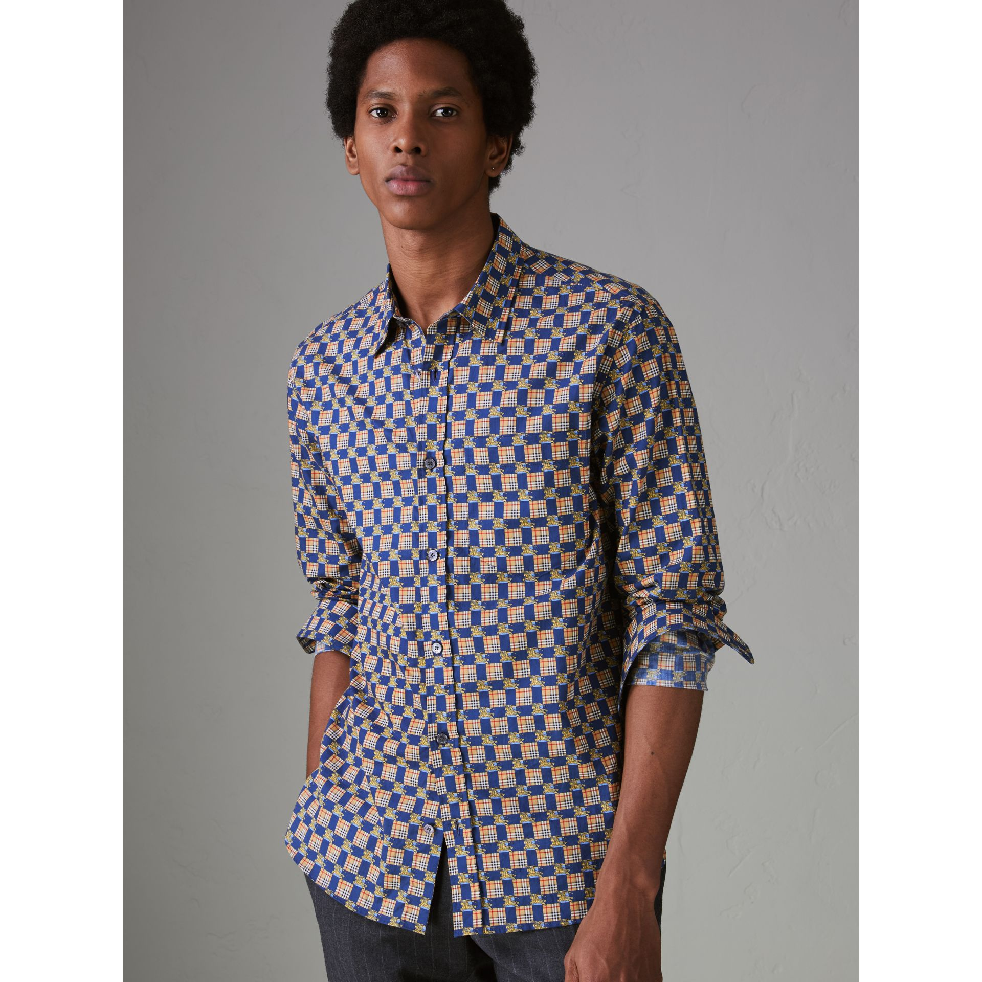 Tiled Archive Print Cotton Shirt in Navy - Men | Burberry United States - gallery image 4