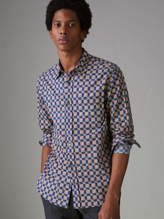 Tiled Archive Print Cotton Shirt in Navy