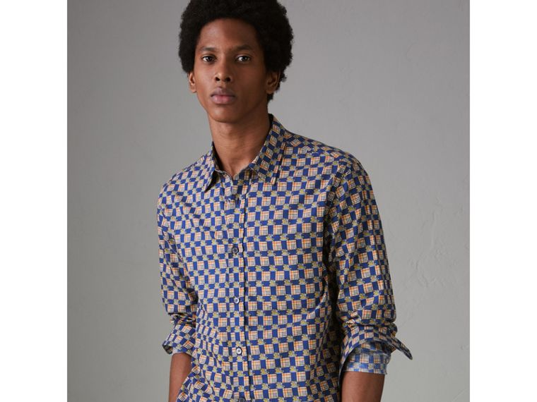 Tiled Archive Print Cotton Shirt in Navy - Men | Burberry - cell image 4