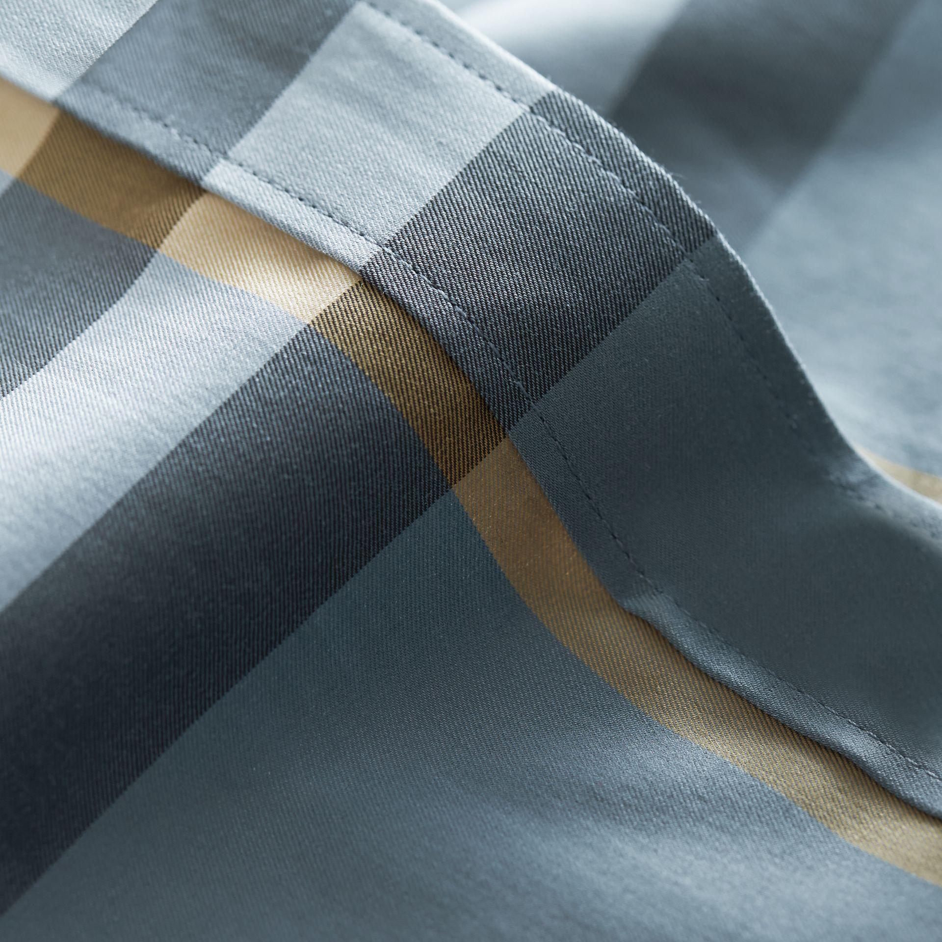 Check Stretch Cotton Shirt in Mineral Blue - Men | Burberry - gallery image 2