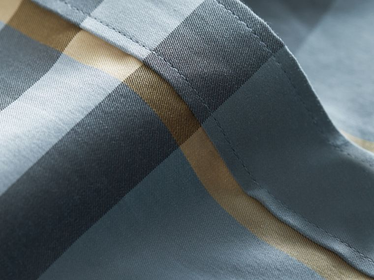 Check Stretch Cotton Shirt in Mineral Blue - Men | Burberry - cell image 1