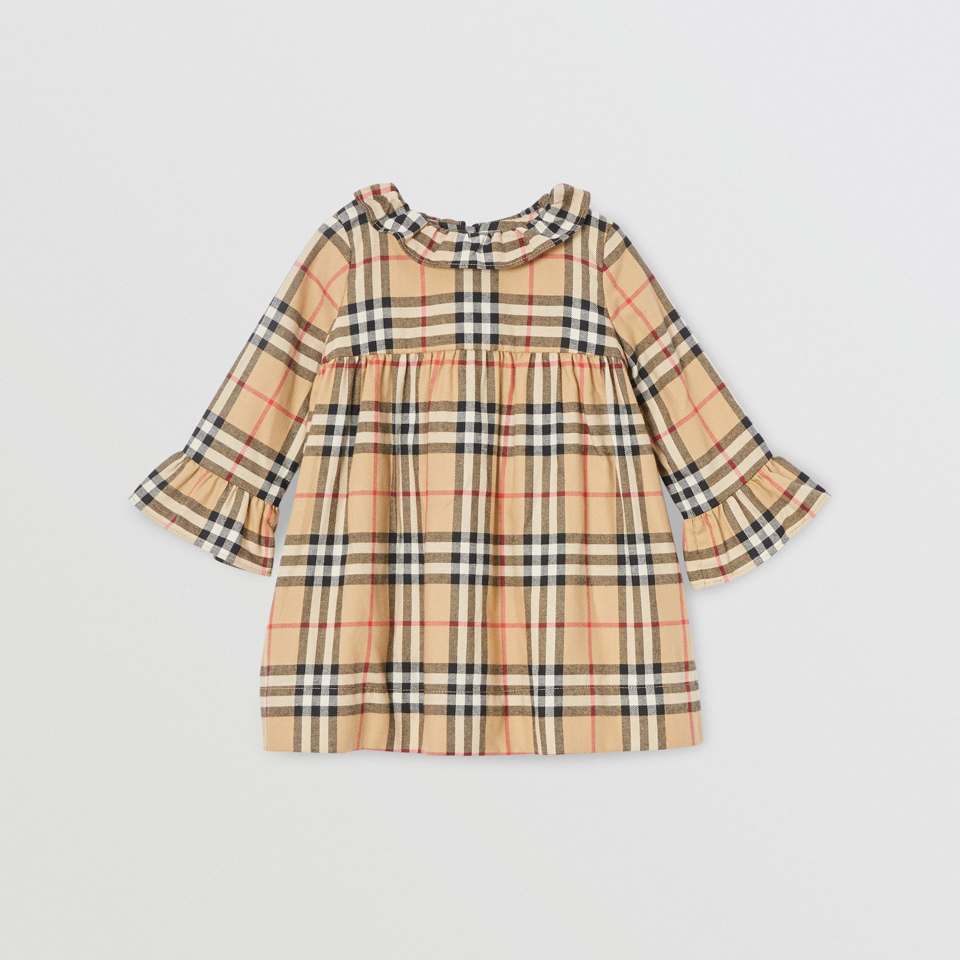Long-sleeve Vintage Check Cotton Flannel Dress in Archive Beige - Children | Burberry - gallery image 0