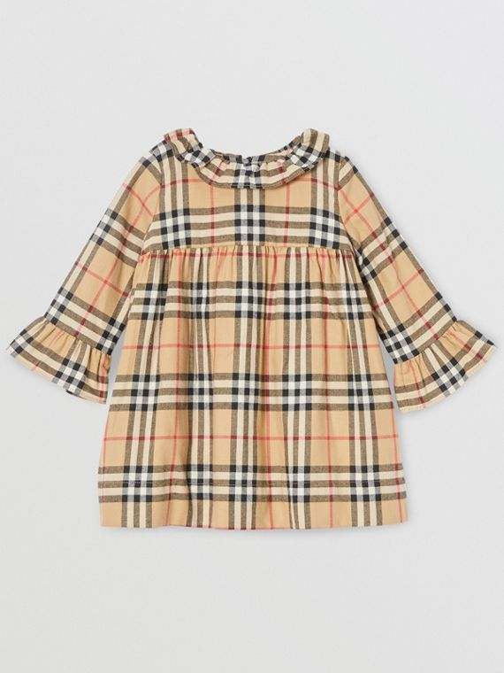 Long-sleeve Vintage Check Cotton Flannel Dress in Archive Beige