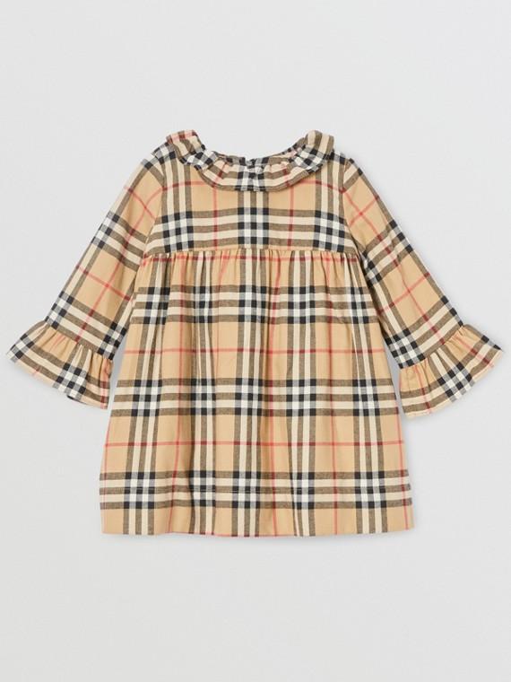 Langärmeliges Kleid aus Baumwollflanell mit Vintage Check-Muster (Vintage-beige)