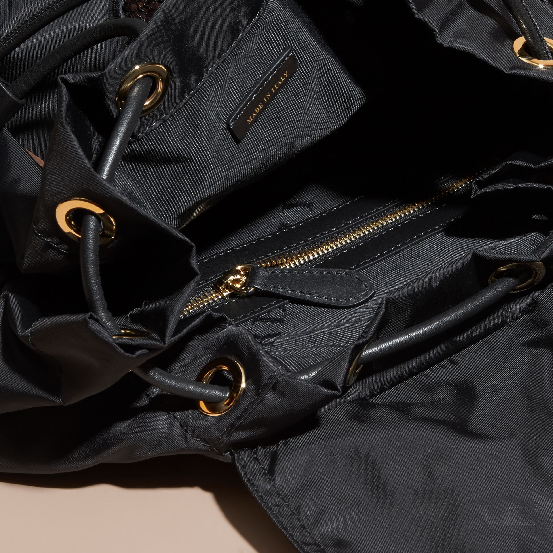 The Large Rucksack in Technical Nylon with Sequinned Flowers - Women | Burberry - gallery image 5