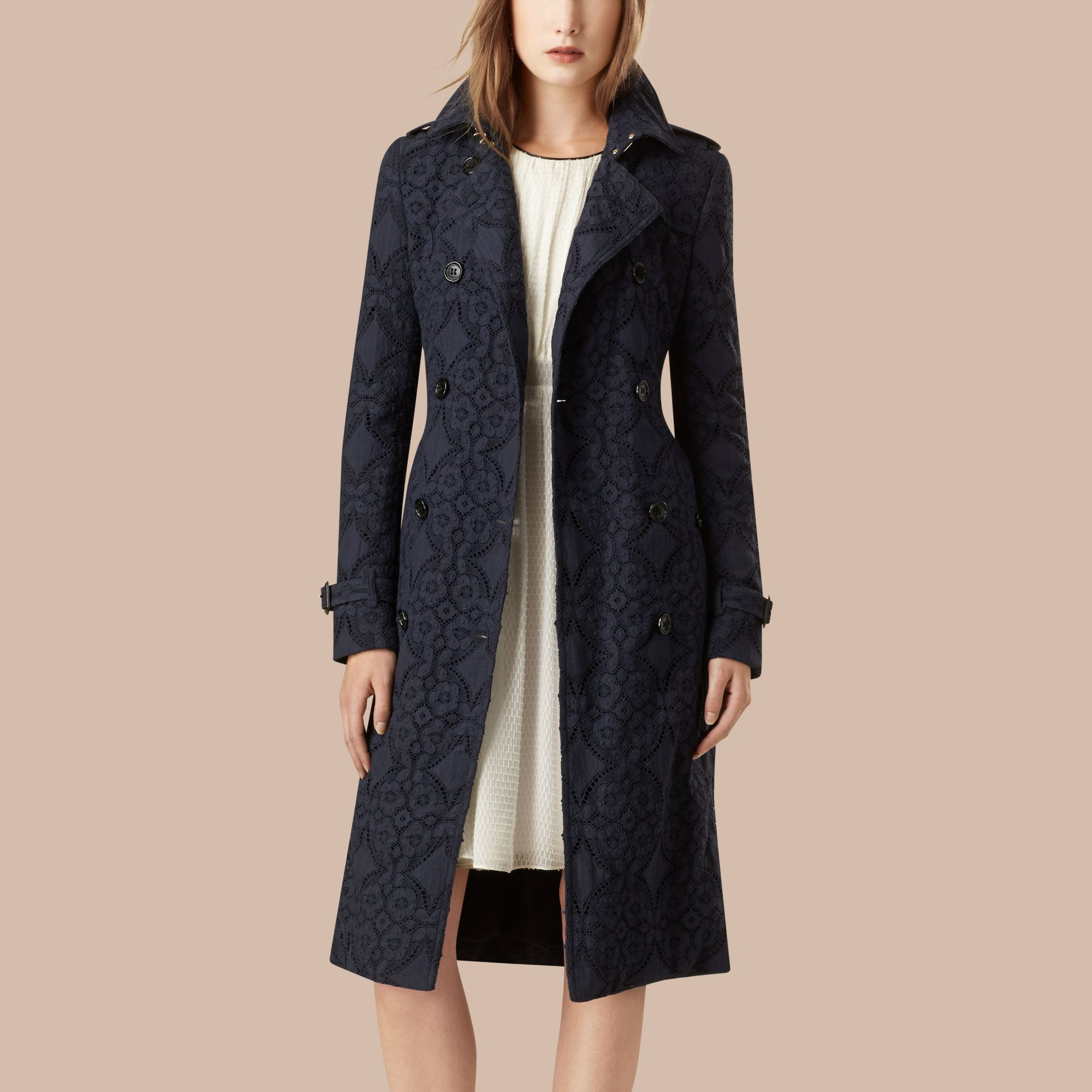 Ink Gabardine Lace Trench Coat Ink - gallery image 3