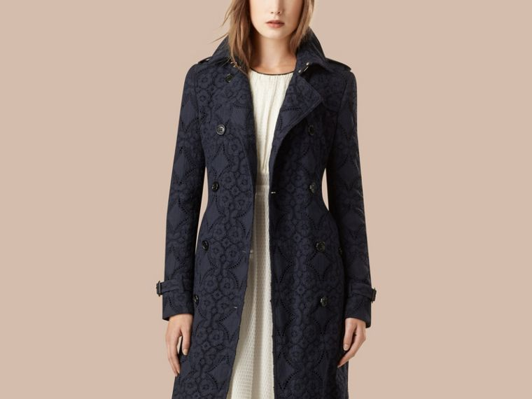 Ink Gabardine Lace Trench Coat Ink - cell image 2