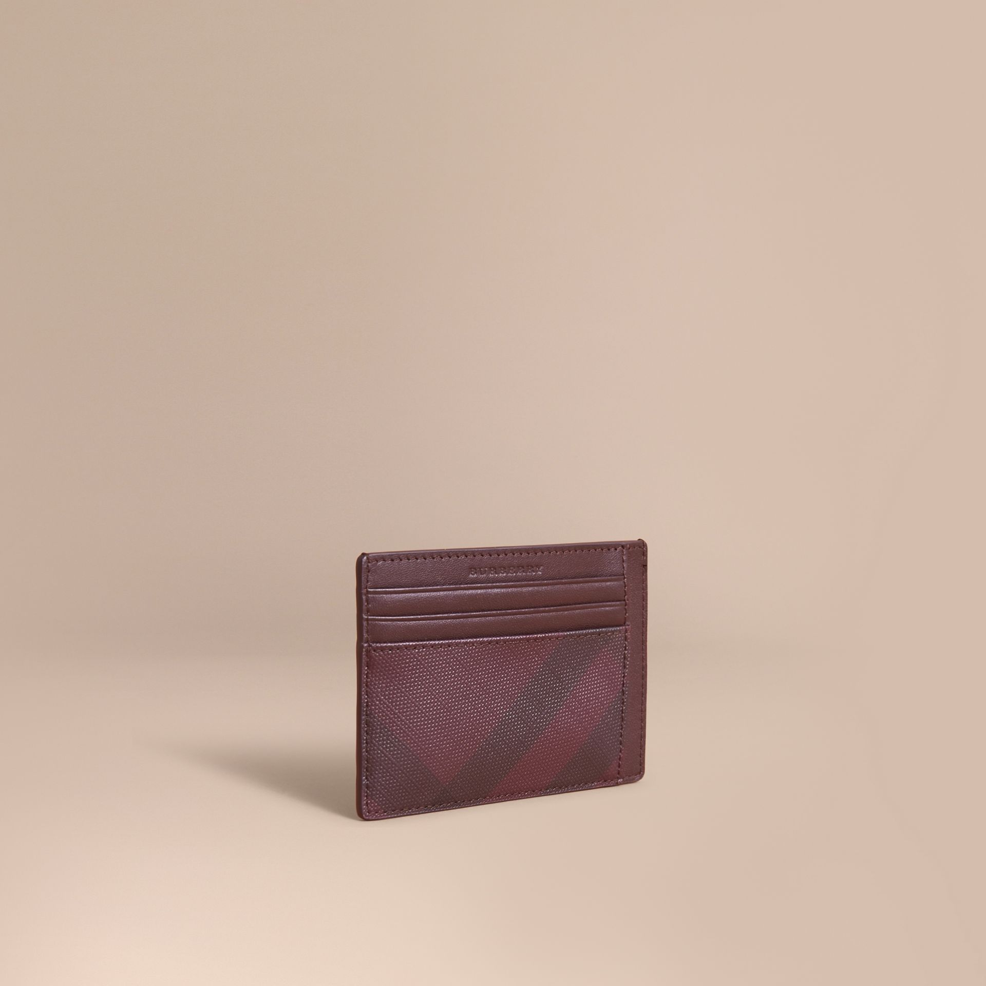 London Check Card Case in Deep Claret - Men | Burberry - gallery image 0
