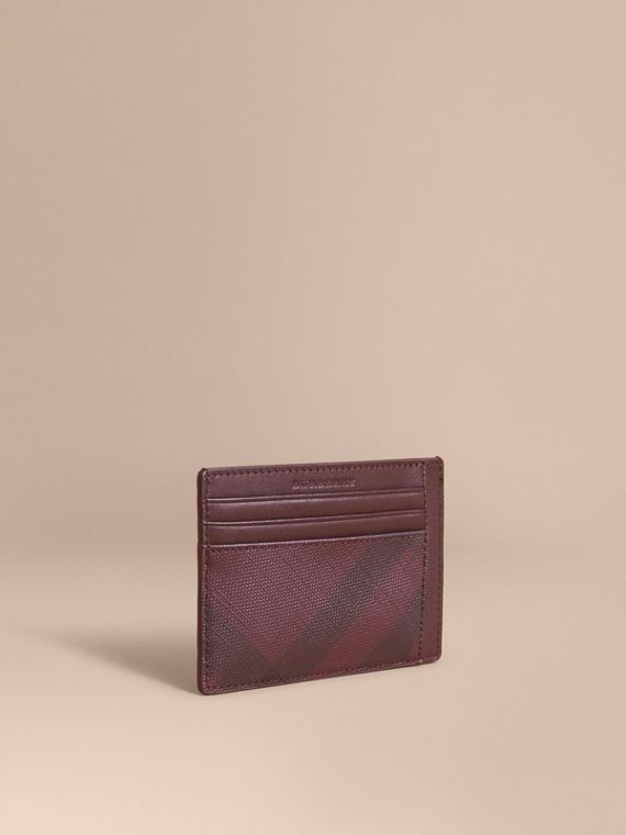 London Check Card Case in Deep Claret