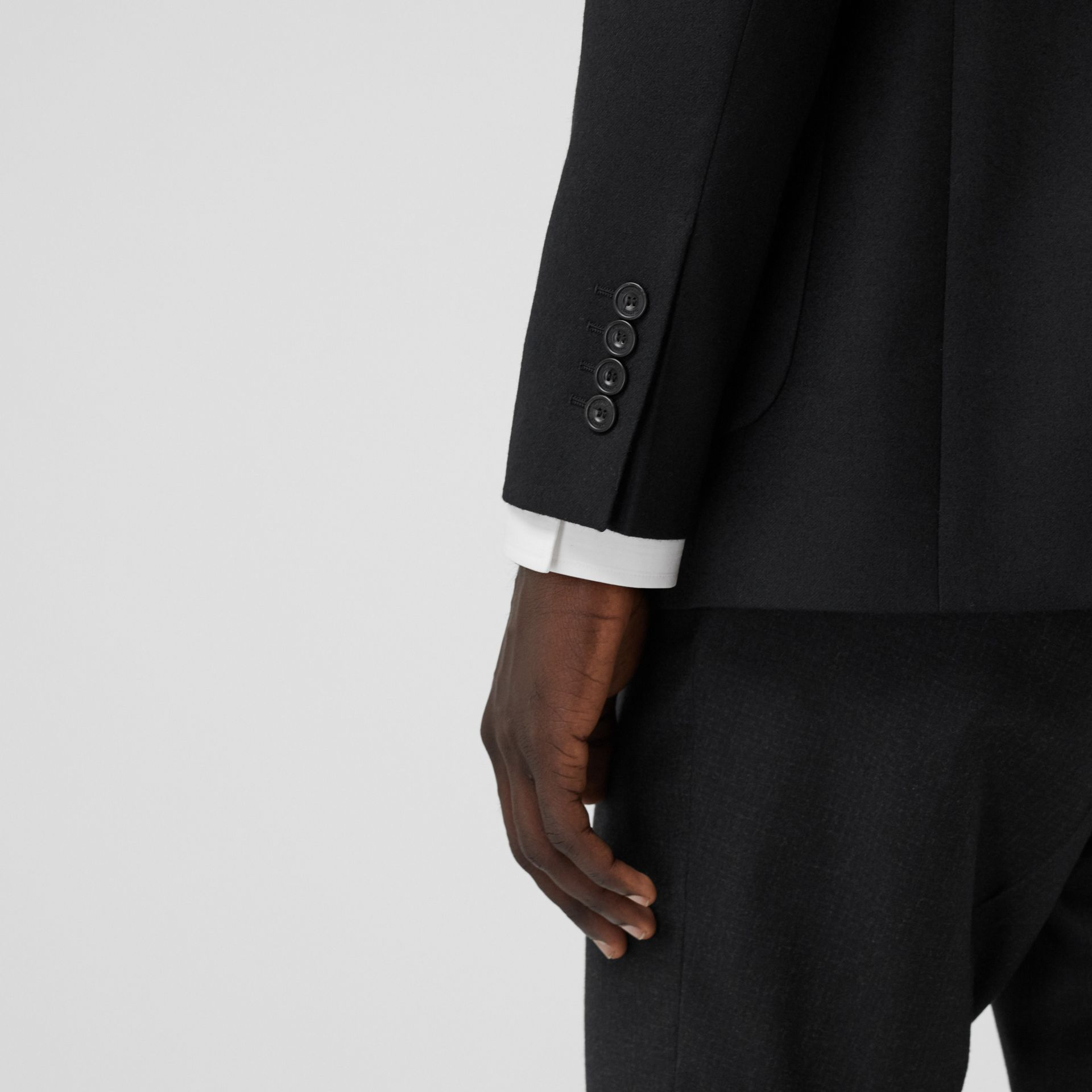 Slim Fit Monogram Motif Wool Flannel Tailored Jacket in Black - Men | Burberry - gallery image 1