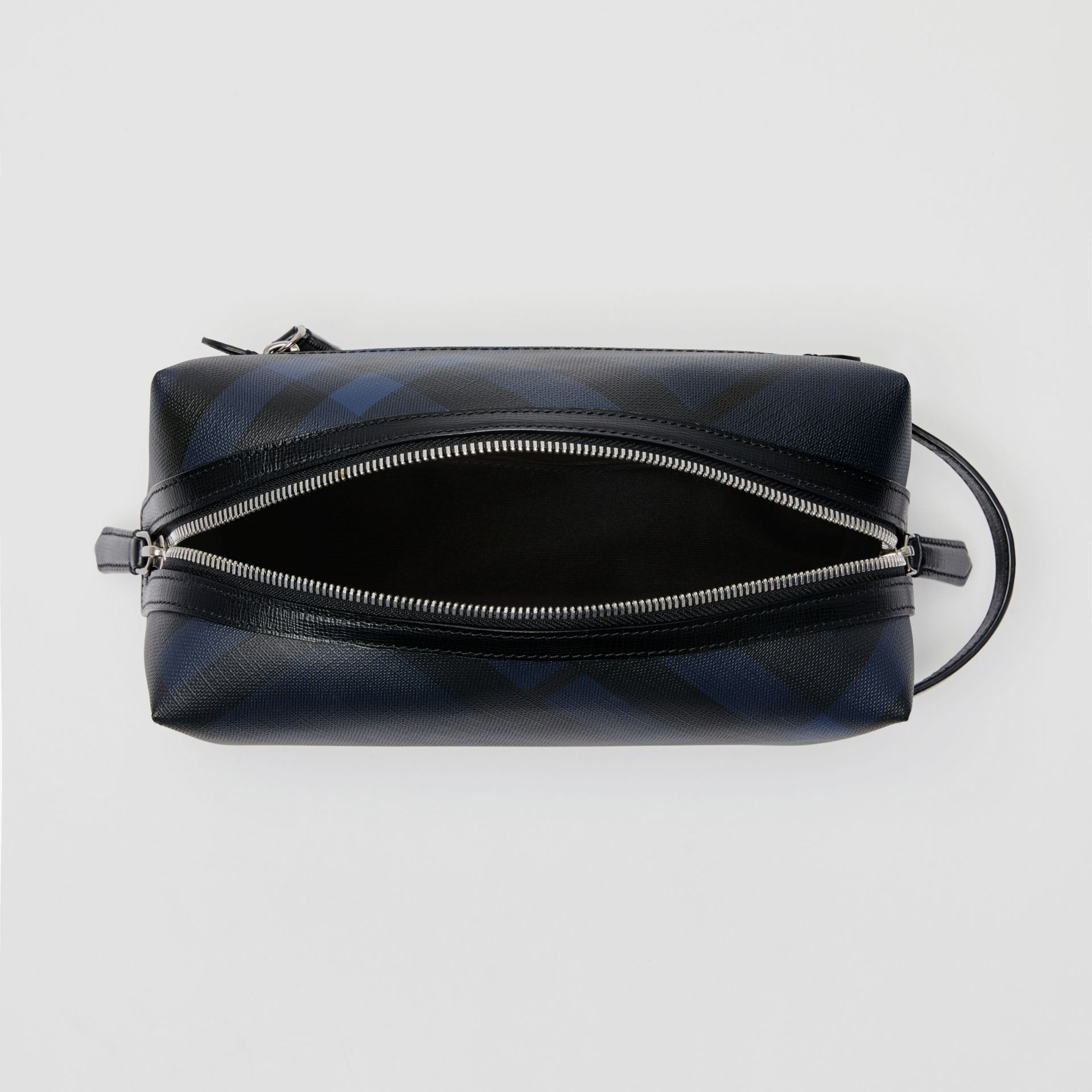 Trousse con pelle e motivo London check (Navy/nero) | Burberry - immagine della galleria 5