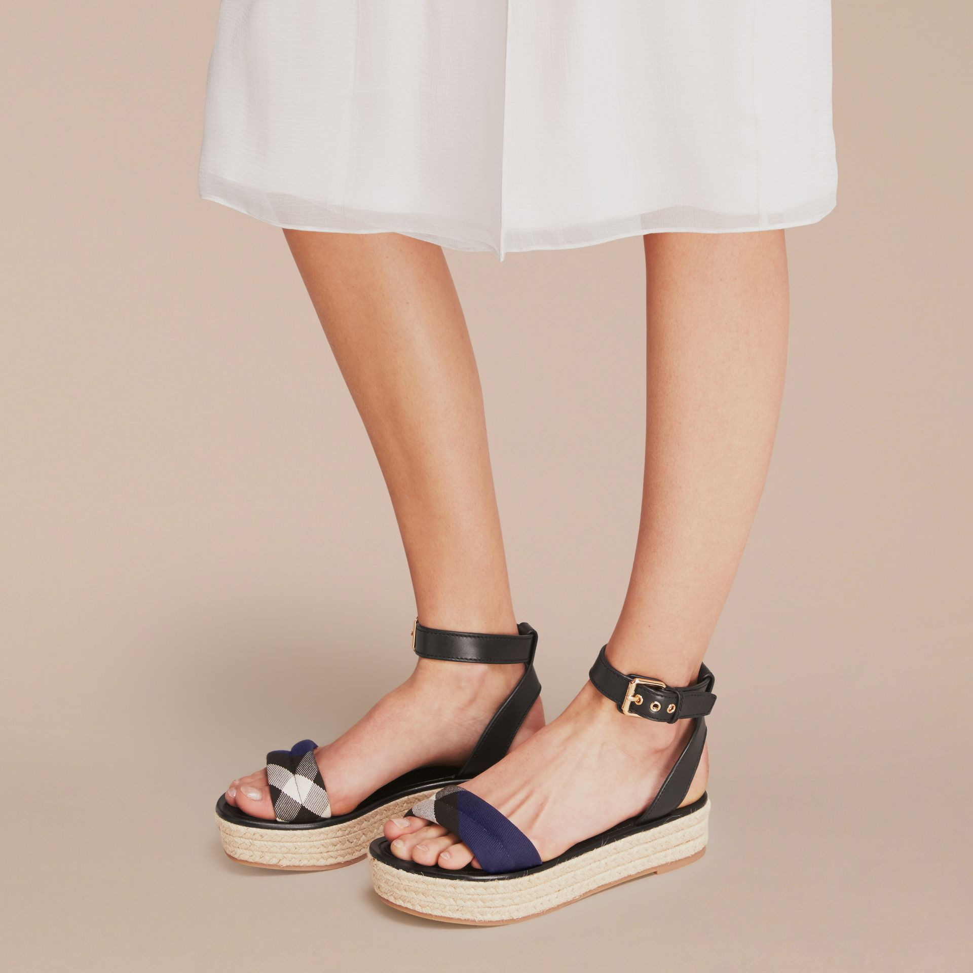 Leather and House Check Espadrille Platform Sandals Navy - gallery image 3