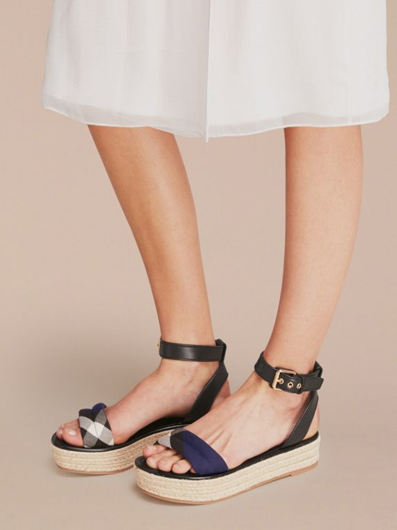 Leather and House Check Espadrille Platform Sandals Navy - cell image 2
