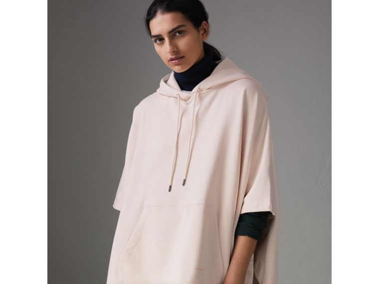 Cotton Jersey Hooded Cape in Pale Pink - Women | Burberry - cell image 4