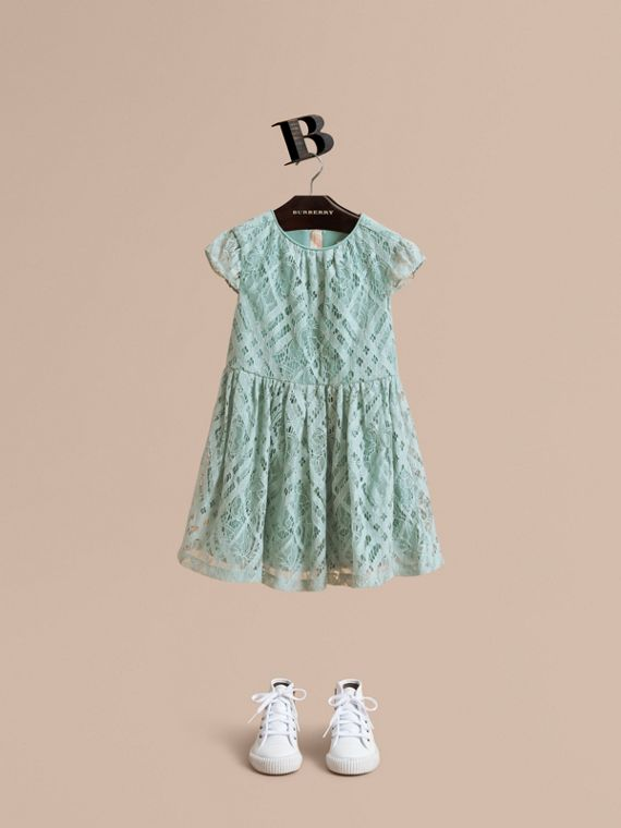 Cap-sleeve Check Lace Dress in Pale Slate Blue