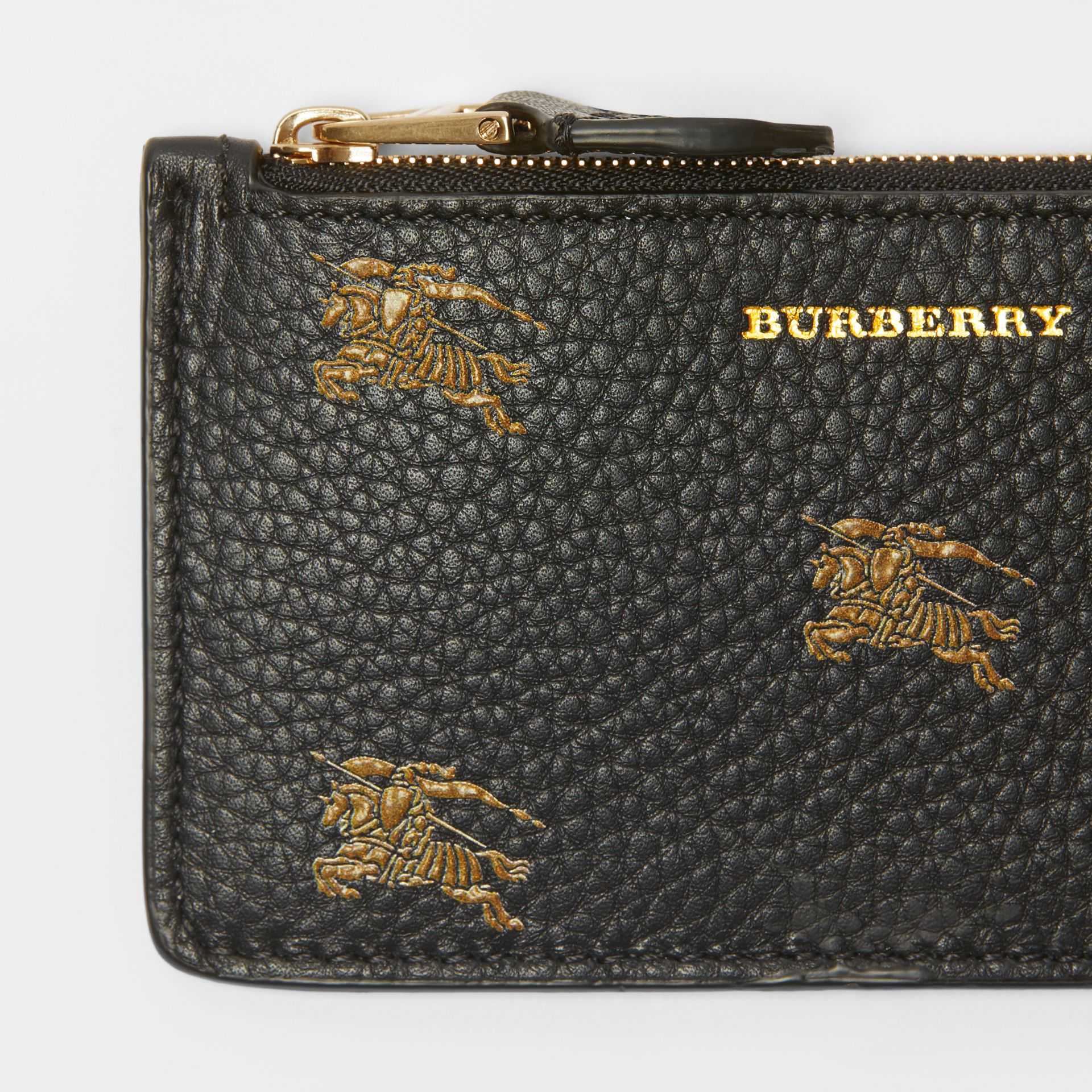 Equestrian Knight Leather Zip Card Case in Black - Women | Burberry - gallery image 1