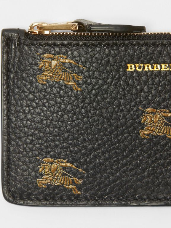 Equestrian Knight Leather Zip Card Case in Black - Women | Burberry - cell image 1