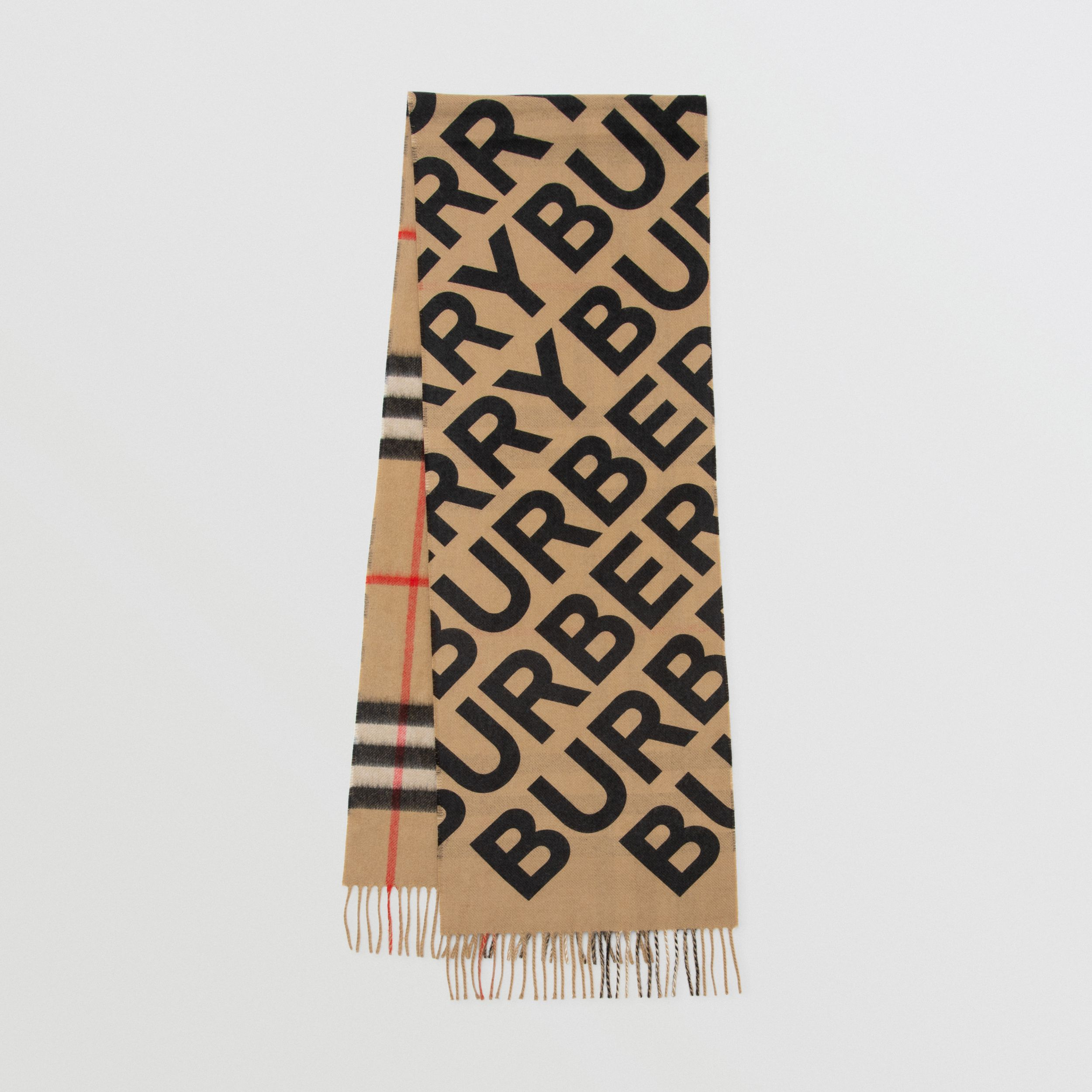 Logo Print Check Cashmere Scarf in Black | Burberry - 1