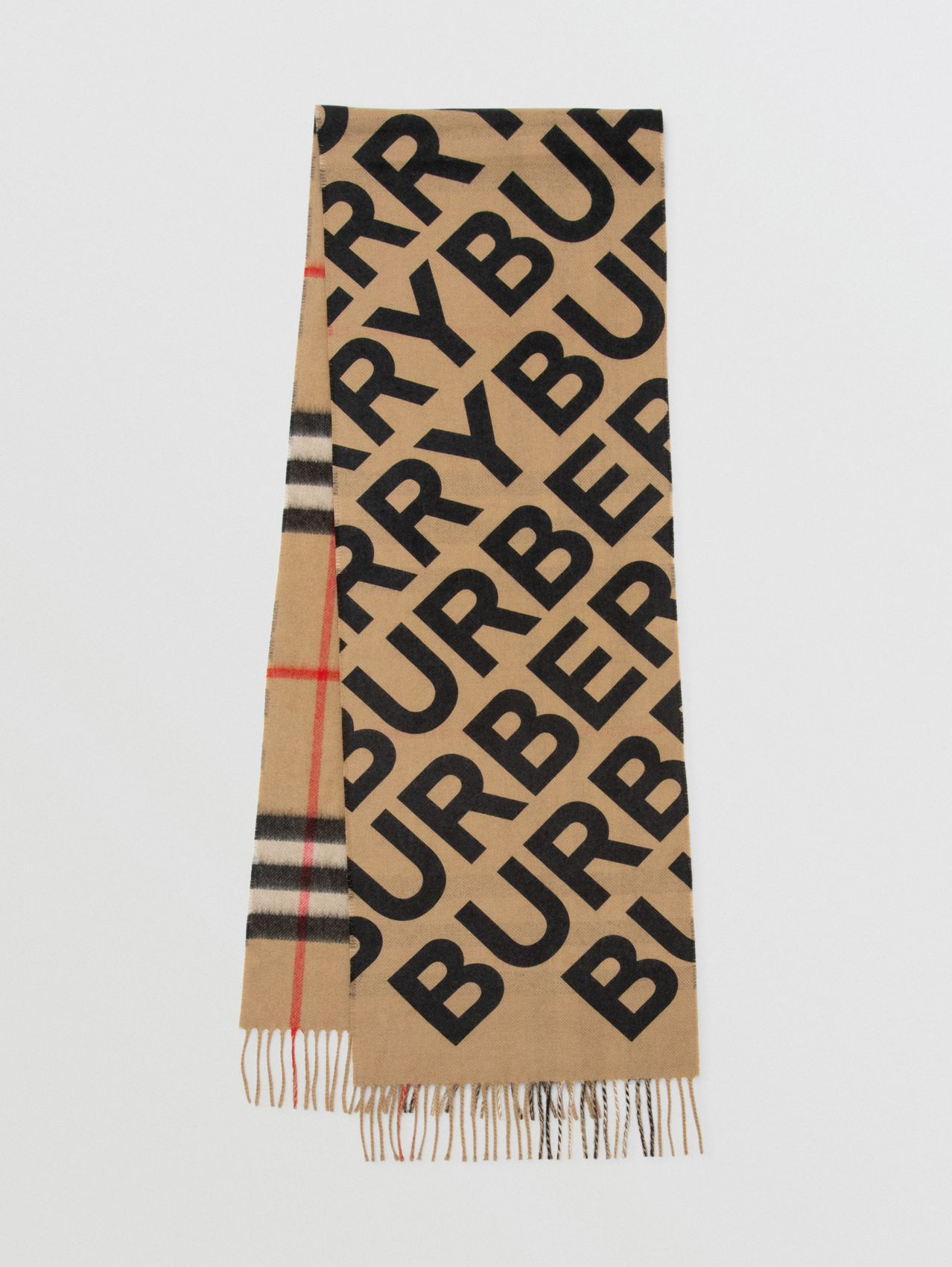 Logo Print Check Cashmere Scarf in Black