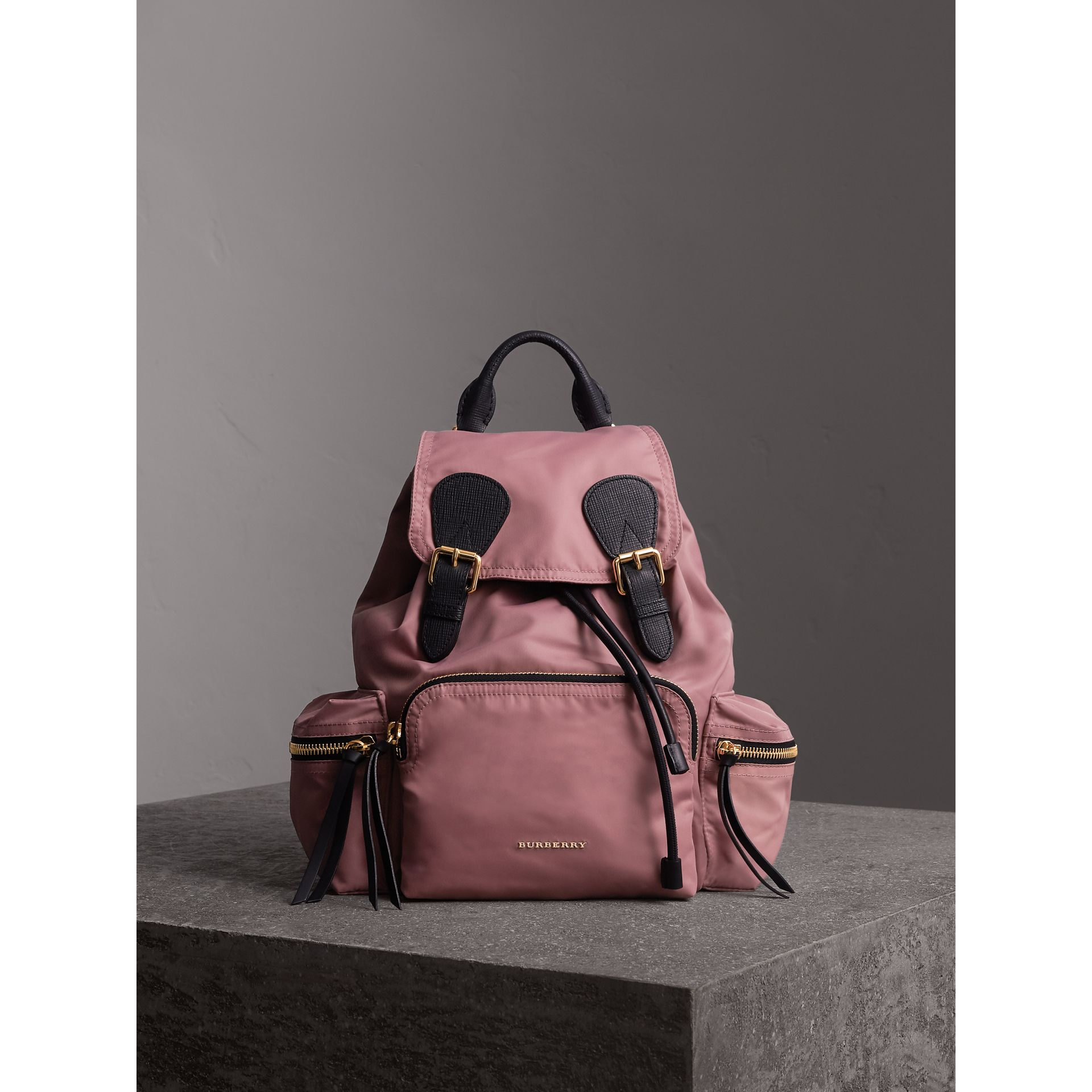 The Medium Rucksack in Technical Nylon and Leather in Mauve Pink - Women | Burberry - gallery image 1