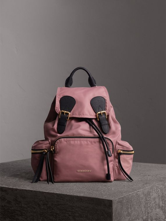 The Medium Rucksack in Technical Nylon and Leather in Mauve Pink - Women | Burberry