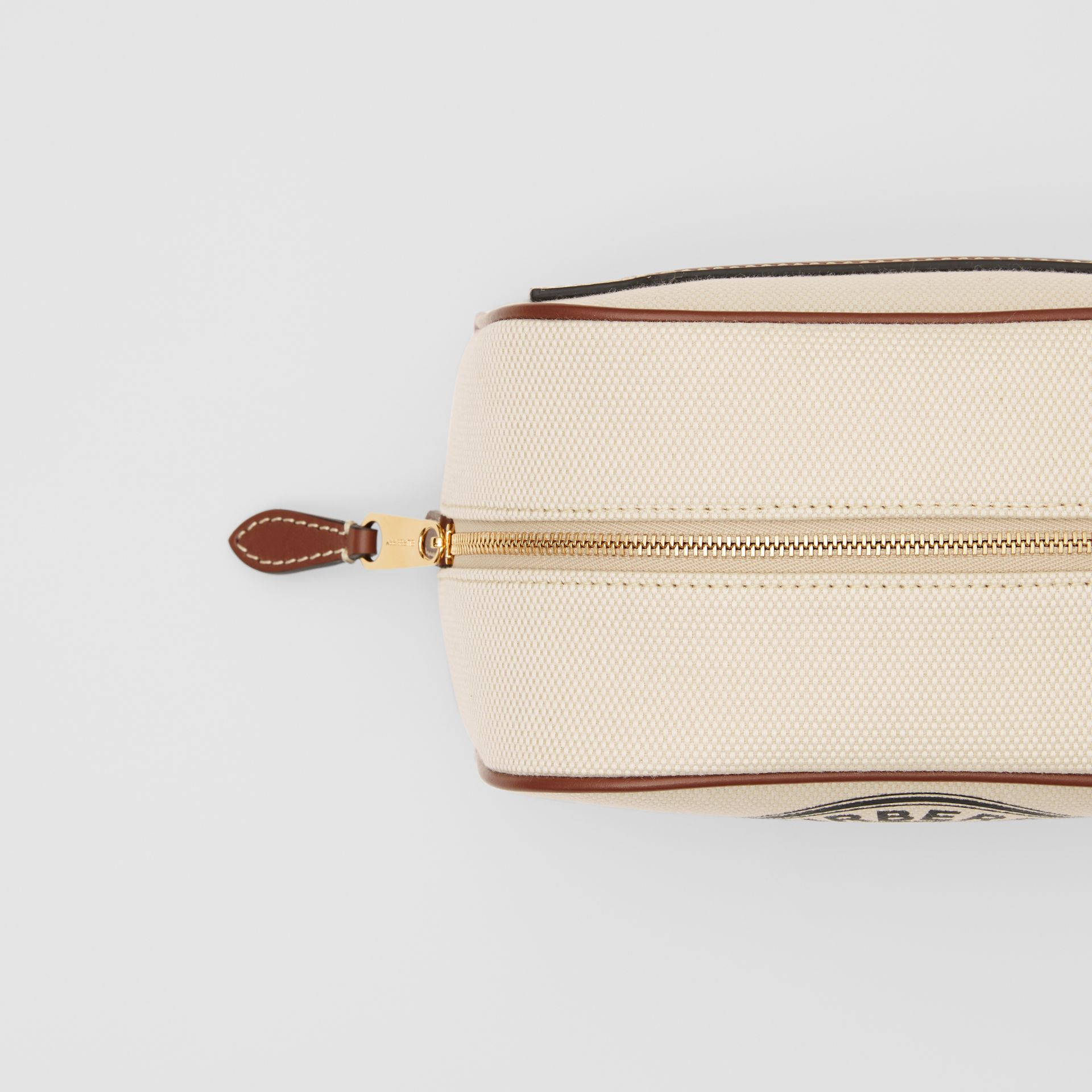 Small Logo Graphic Cotton Canvas Travel Pouch in White/tan - Women | Burberry United Kingdom - gallery image 1