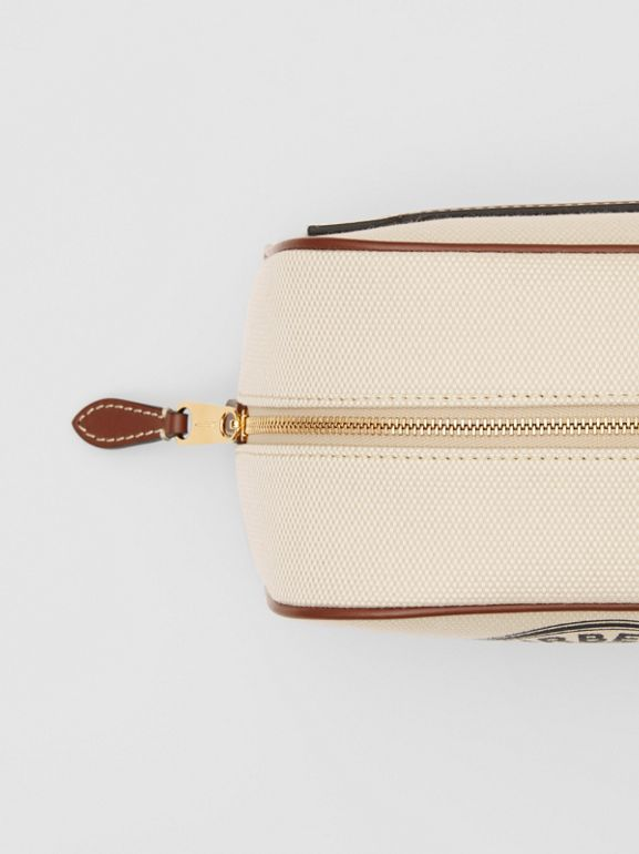 Small Logo Graphic Cotton Canvas Travel Pouch in White/tan - Women | Burberry United Kingdom - cell image 1