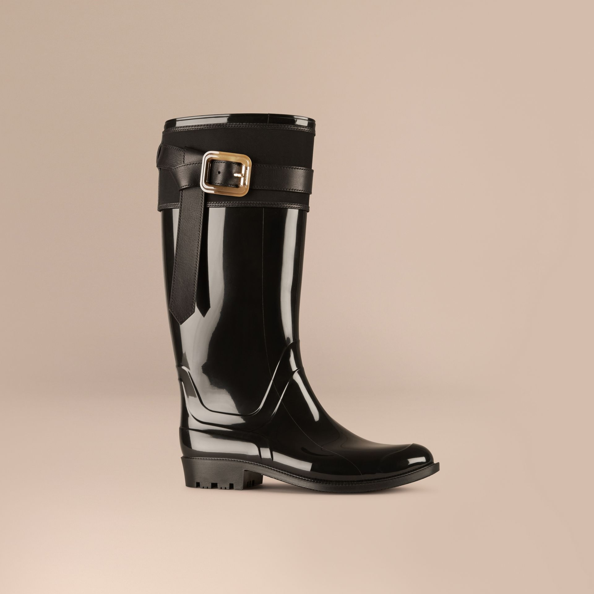 Black Belted Equestrian Rain Boots - gallery image 1