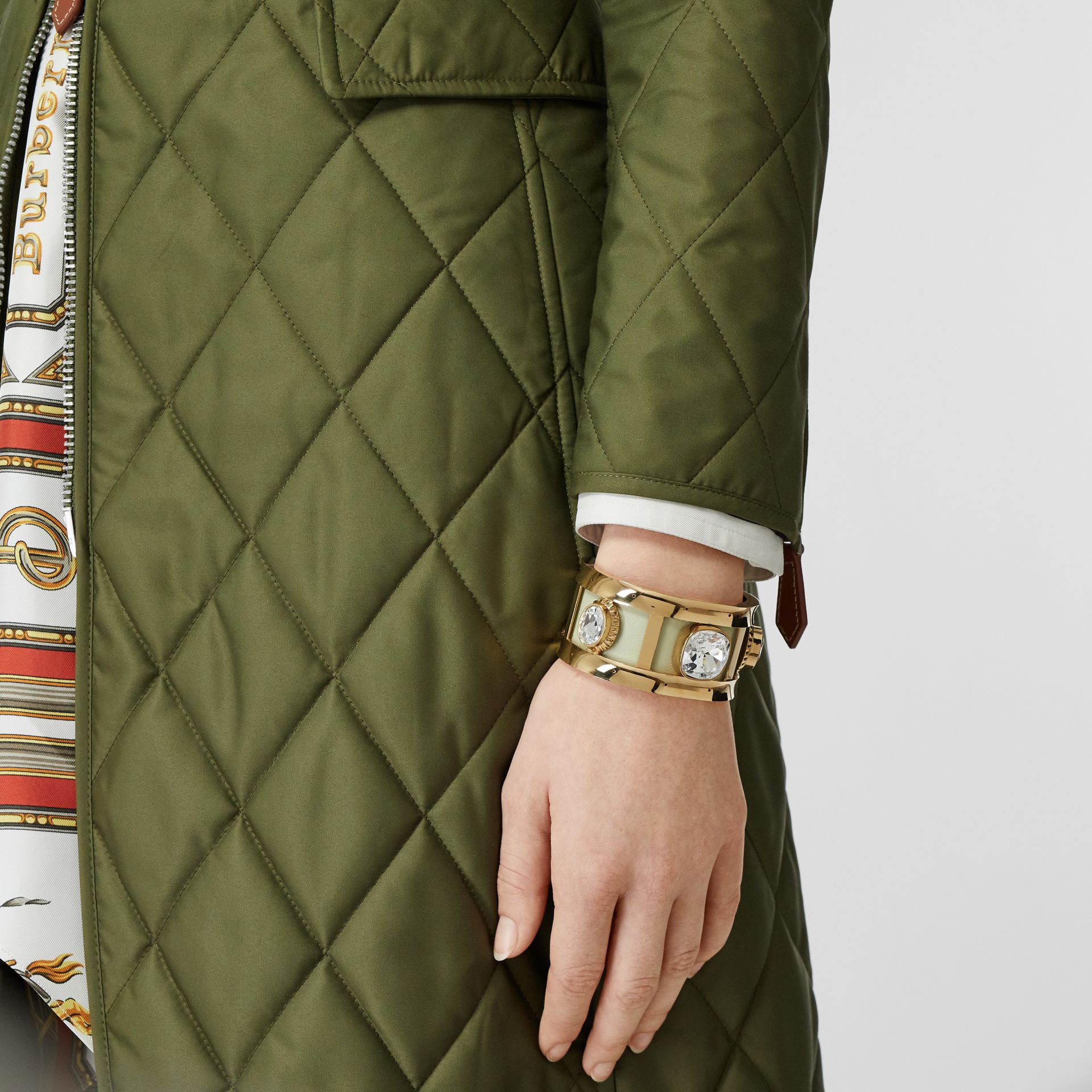 Crystal Detail Lambskin and Gold-plated Cuff in Pistachio/gold - Women | Burberry Australia - gallery image 2