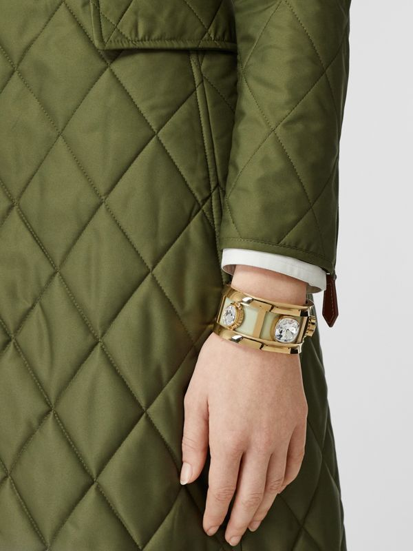Crystal Detail Lambskin and Gold-plated Cuff in Pistachio/gold - Women | Burberry - cell image 2