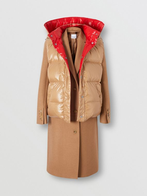 Camel Hair Tailored Coat with Detachable Gilet in Bronze