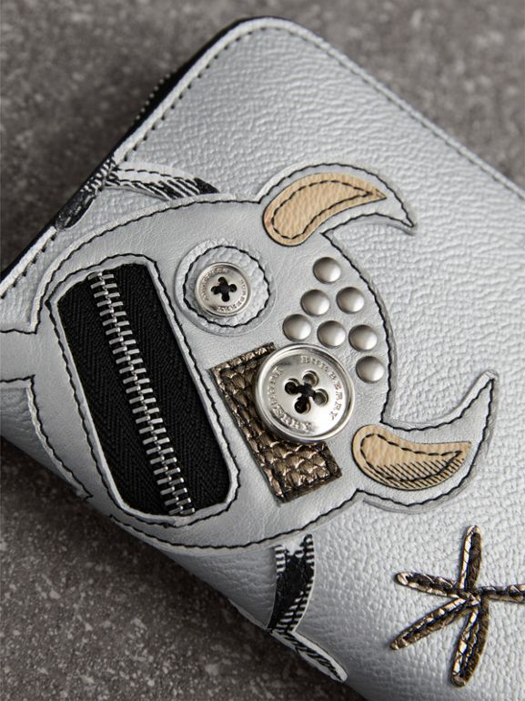 Creature Appliqué Metallic Leather Ziparound Wallet in Silver - Women | Burberry - cell image 1