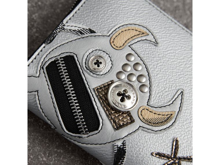 Creature Appliqué Metallic Leather Ziparound Wallet in Silver - Women | Burberry Australia - cell image 1