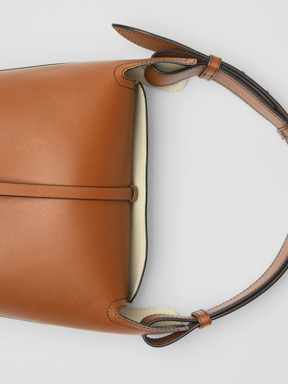 The Small Leather Bucket Bag in Tan - Women | Burberry - cell image 1