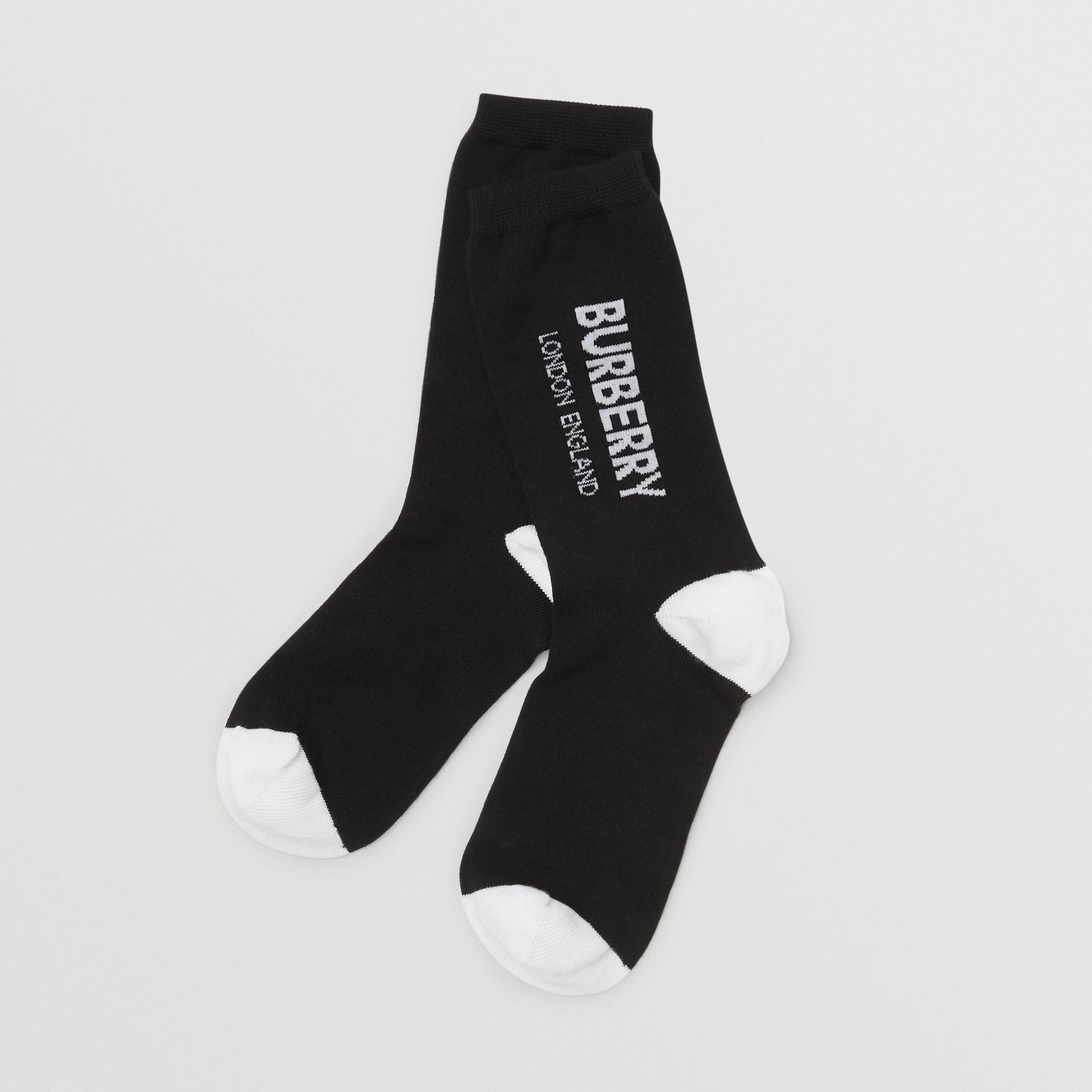 Logo Intarsia Cotton Blend Socks in Black/white - Children | Burberry United States - gallery image 0