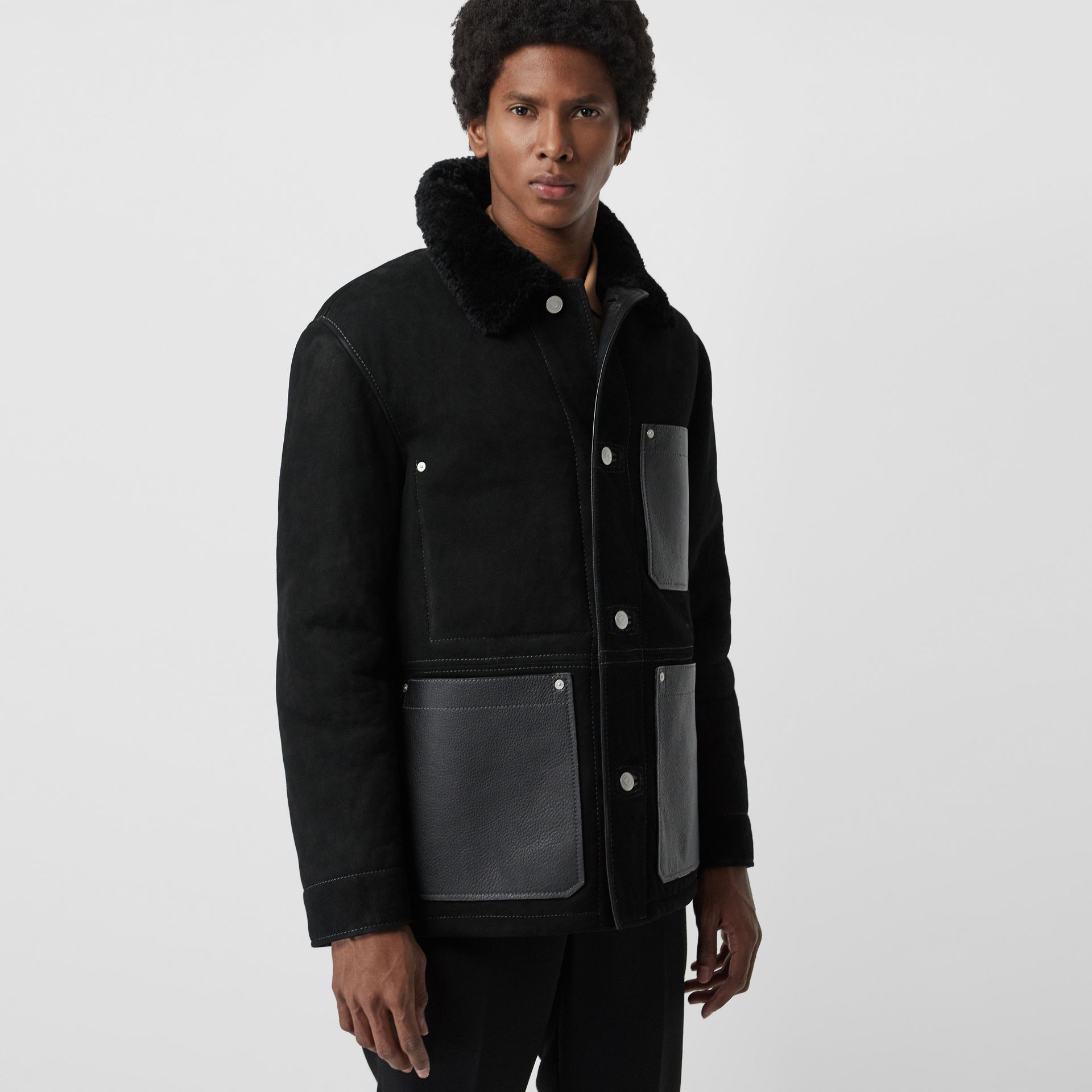Leather Detail Shearling Workwear Jacket in Black - Men | Burberry Australia - gallery image 6