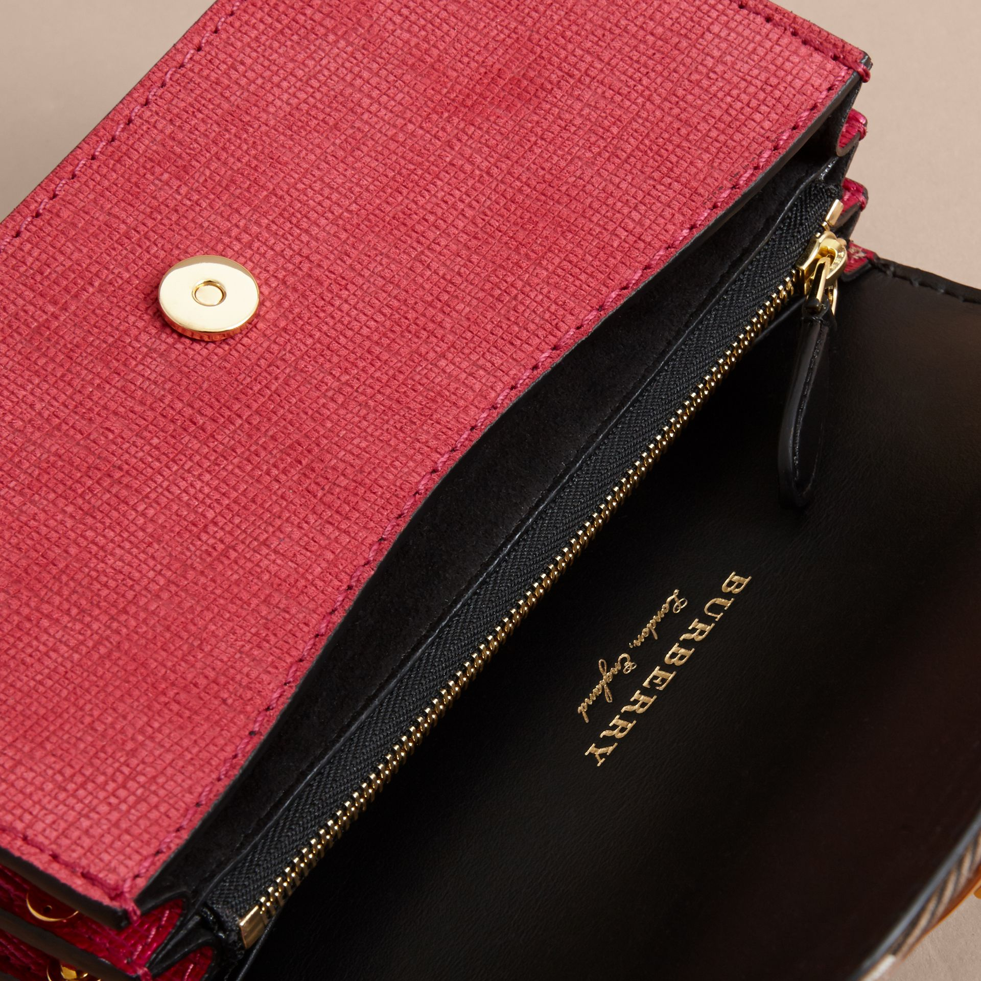 The Small Buckle Bag in House Check and Leather Bright Pink - gallery image 4