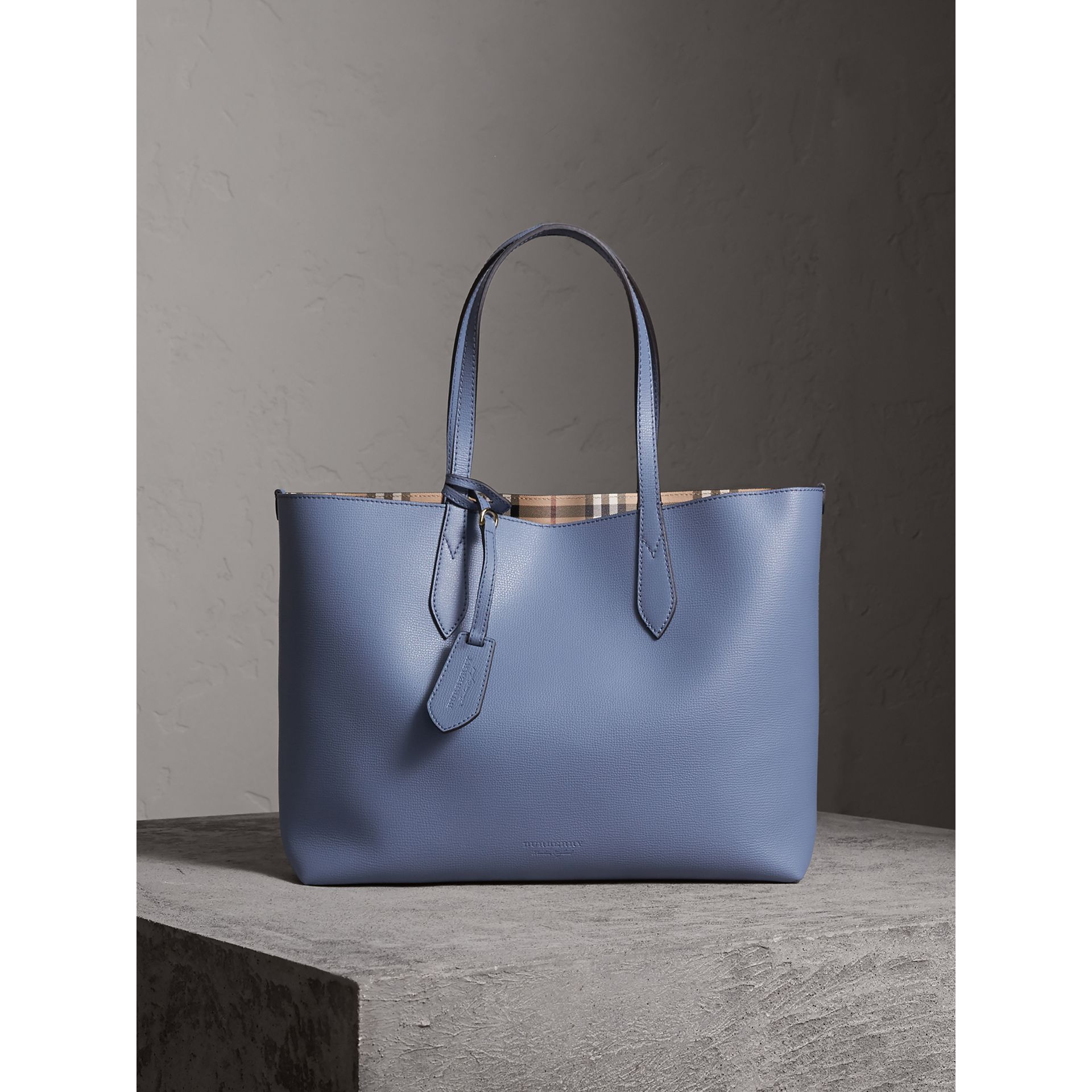 The Medium Reversible Tote in Haymarket Check and Leather in Slate Blue - Women | Burberry - gallery image 1